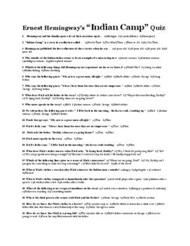 "Hemingway's ""Indian Camp"" Quiz"