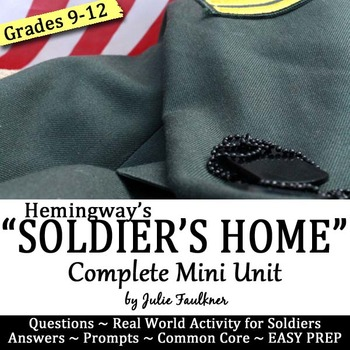 """Hemingway's """"Soldier's Home"""" Short Story Unit Guide, Paire"""