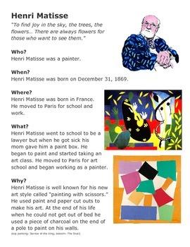Henri Matisse One-Sheeter