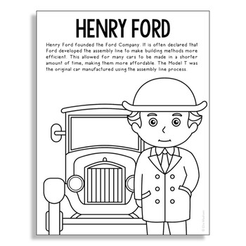 Henry Ford Coloring Page Activity or Poster with Mini Biog