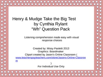 "Henry & Mudge Take the Big Test by Cynthia Rylant ""Wh"" Que"