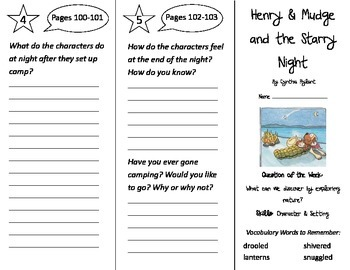 Henry & Mudge and the Starry Night Trifold - Reading Stree