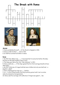 Henry VIII - Break with Rome Cross Word