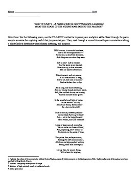 """Henry Wadsworth Longfellow: """"A Psalm of Life"""" TP-CASTT"""