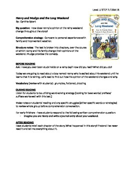 Henry and Mudge and the Long Weekend Guided Reading Lesson
