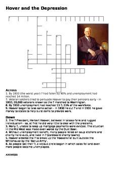 Herbert Hoover and the Depression Crossword