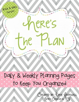 Daily & Weekly Planning Pages - Editable, Black & White