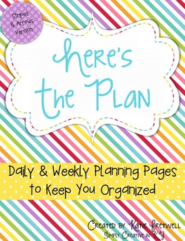 Daily & Weekly Planning Pages - Editable, Stripes & Arrows