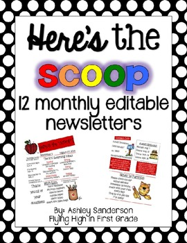 Here's The Scoop {12 editable monthly newsletters}