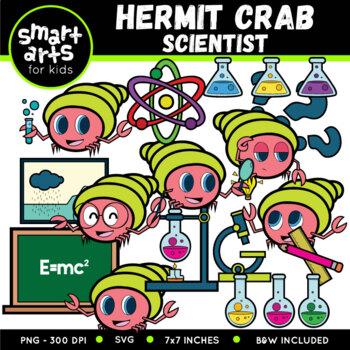 Hermit Crab Scientist Clipart
