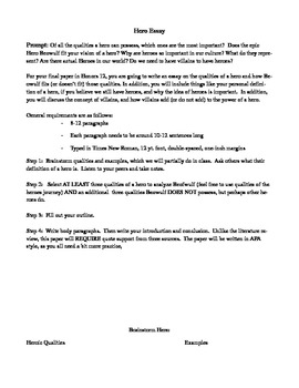 Hero Essay - Beowulf Unit