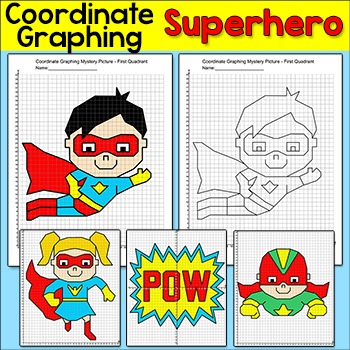Coordinate Graphing Superhero Mystery Pictures: First Quad
