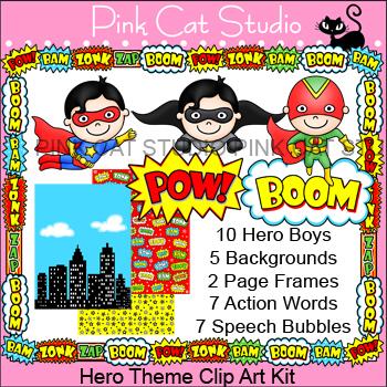 Superhero Theme Clip Art - Product Creation Kit