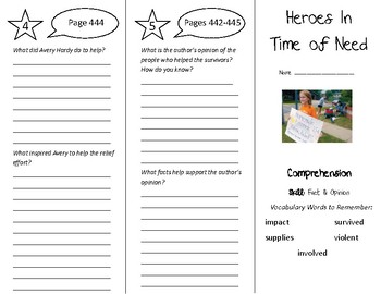 Heroes In Time of Need Trifold - Treasures 5th Grade Unit