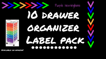 Herringbone Labels for 10-Drawer Organizer (Purple and Black)