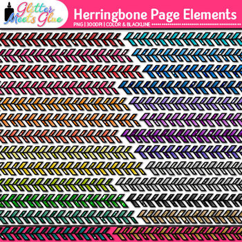 Herringbone Page Elements Clip Art - Page Borders - Page D