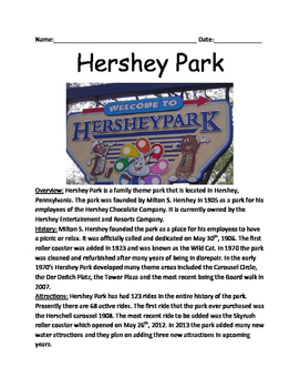 Hershey Park - History, Facts, Information Lesson with questions