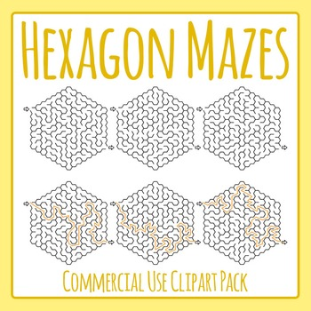 Hexagon Mazes (Honeycomb?) Clip Art Pack Commercial Use