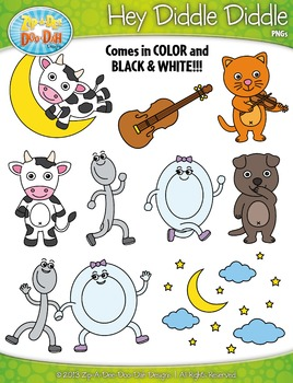 {FREE} Hey Diddle Diddle Nursery Rhyme Clipart Set — Over