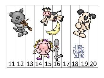 Hey Diddle Diddle themed Number Sequence Puzzle 11-20 pres