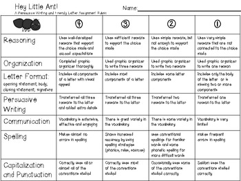 Hey Little Ant! Extension Activity Rubric