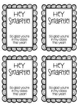"""""""Hey Smartie!"""" Back to School Student Gift Tags FREEBIE"""