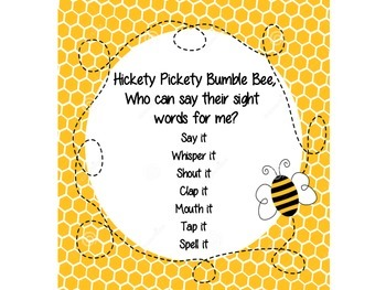 Hickety Pickety Sight Word Chant