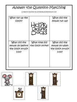 Hickory Dickory Dock Answer the Question preschool printab