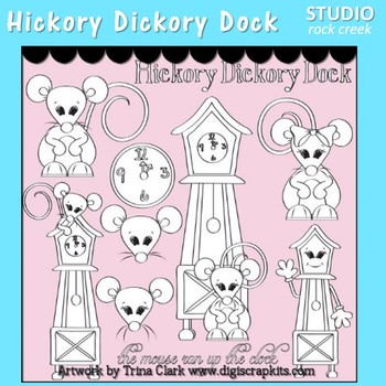 Hickory Dickory Dock Clip Art line drawing pers & comm use