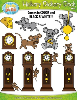 Hickory Dickory Dock Nursery Rhyme Clipart Set — Over 35 G