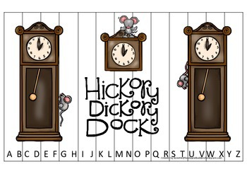 Hickory Dickory Dock themed Alphabet Sequence Puzzle presc