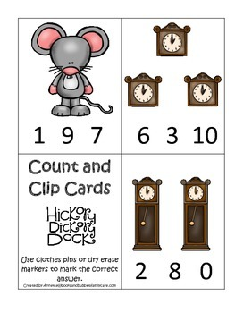 Hickory Dickory Dock themed Count and Clip Cards child mat