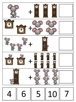 Hickory Dickory Dock themed Math Addition preschool learni