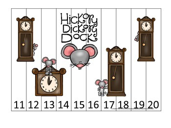 Hickory Dickory Dock themed Number Sequence Puzzle 11-20 p