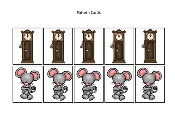 Hickory Dickory Dock themed Pattern Cards #3 preschool pri