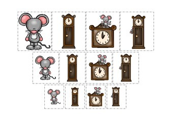 Hickory Dickory Dock themed Size Sorting preschool printab