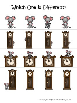 Hickory Dickory Dock themed Which One is Different prescho