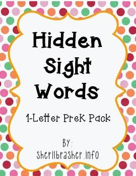Hidden Sight Words - 1-Letter PreK Pack