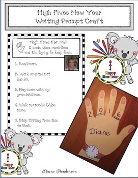 High Fives New Year Writing Prompt Craftivity