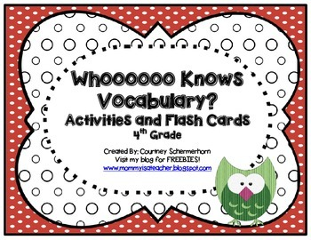 High-Frequency, State-Test Vocabulary Flash Cards/Activiti