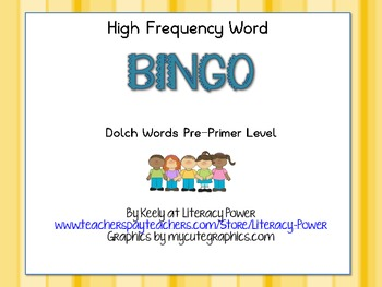 High Frequency Word BINGO Level PP