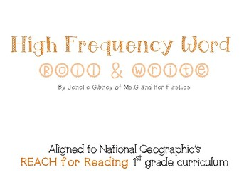 High Frequency Word Roll & Write (National Geographic's RE