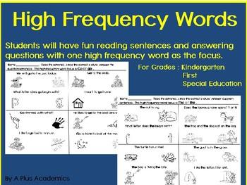 First Grade High Frequency Word Sentences
