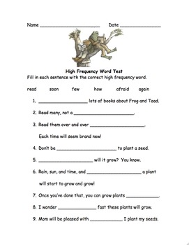 High Frequency Word Test - Frog and Toad Together