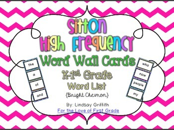 High Frequency Word Wall Cards for K-1 *Bright Chevron*  {