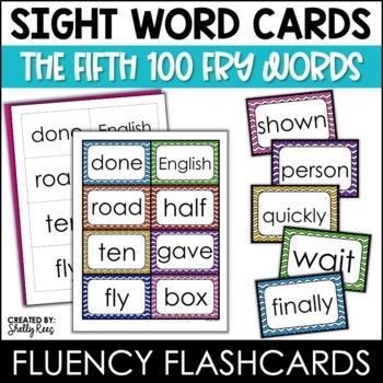Word Wall Sight Words - Fry List - The Fifth 100 - Chevron Border