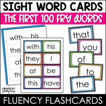 Word Wall Sight Words - Fry List - The First 100 - Chevron Border