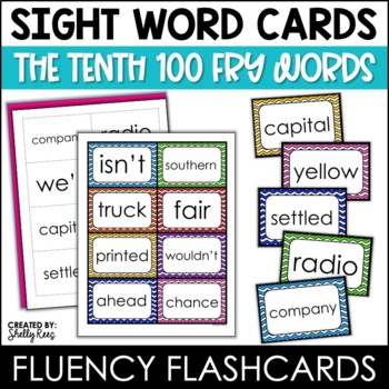 Word Wall Sight Words - Fry List - The Tenth 100 - Chevron Border