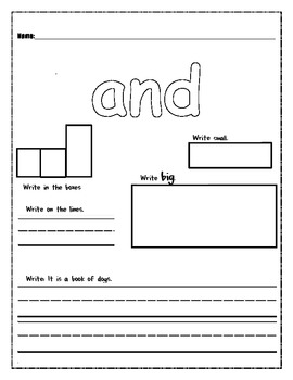 High Frequency Word Work- and