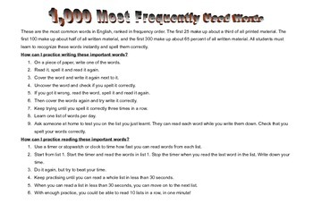 High Frequency Words 1000
